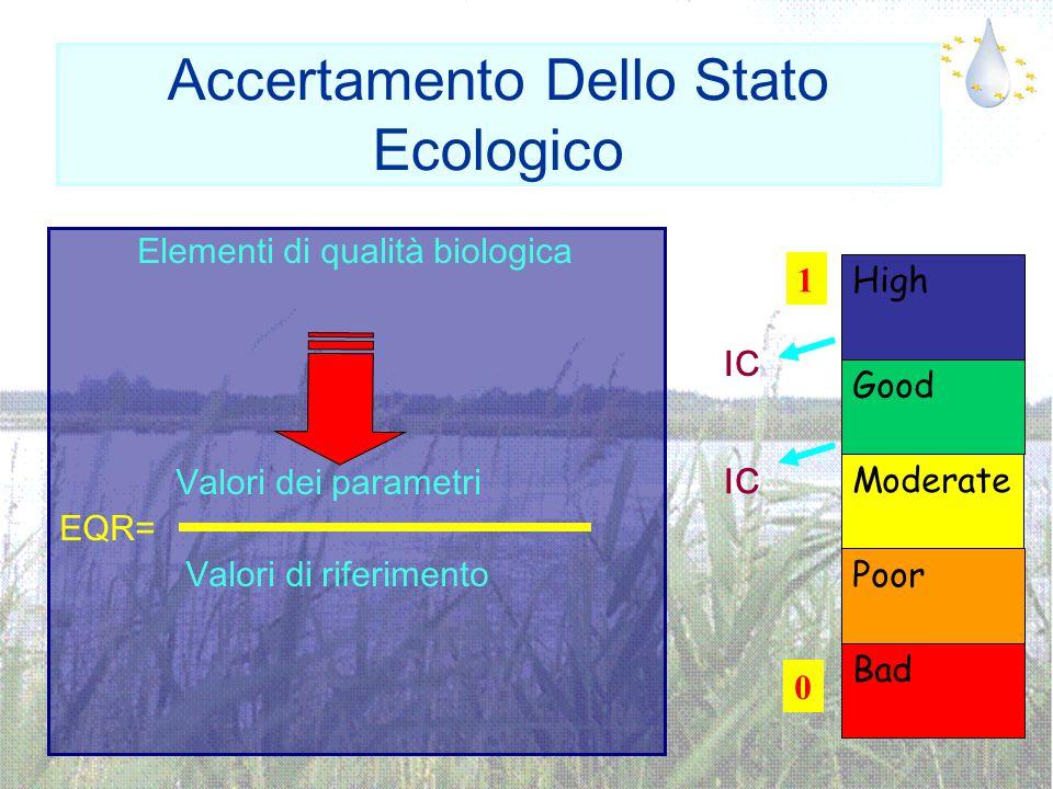 Accertamento Dello Stato Ecologico Elementi di qualità biologica Valori dei parametri EQR= Valori di riferimento 0 1 Poor Bad Moderate Good High IC