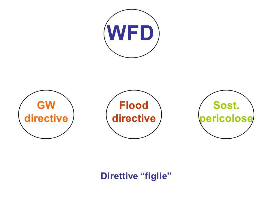 """WFD Flood directive GW directive Sost. pericolose Direttive """"figlie"""""""
