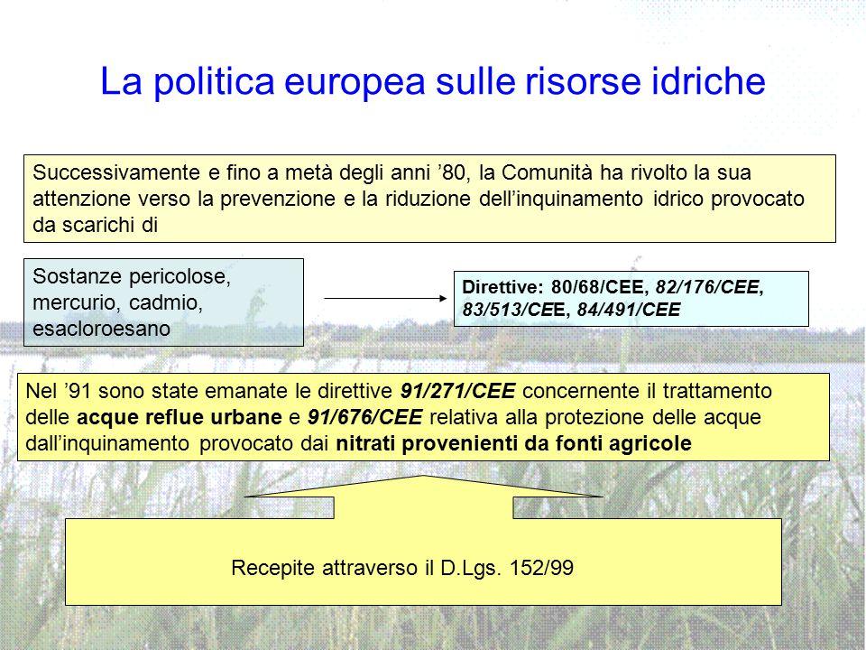 La politica europea sulle risorse idriche Successivamente e fino a metà degli anni '80, la Comunità ha rivolto la sua attenzione verso la prevenzione