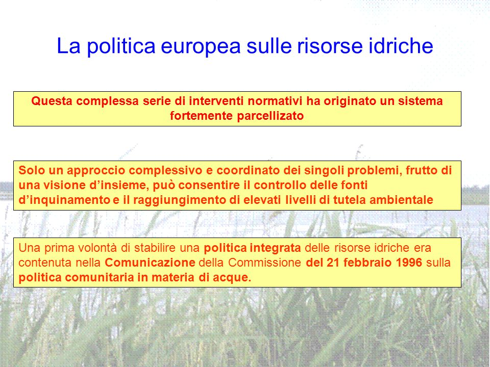 La politica europea sulle risorse idriche Questa complessa serie di interventi normativi ha originato un sistema fortemente parcellizato Solo un appro