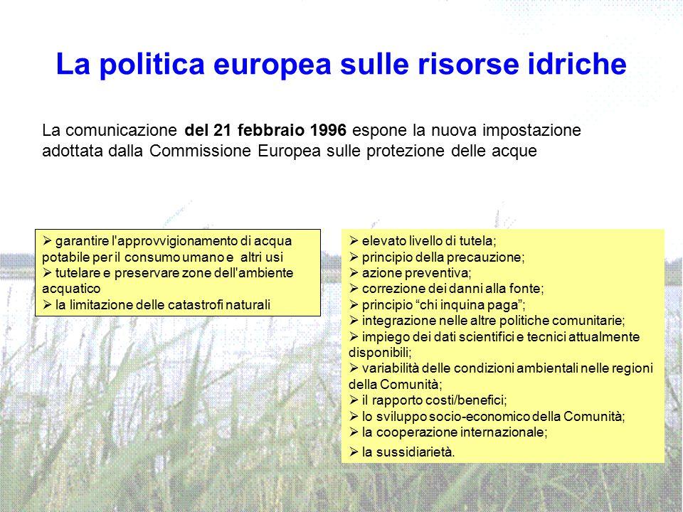 La politica europea sulle risorse idriche La comunicazione del 21 febbraio 1996 espone la nuova impostazione adottata dalla Commissione Europea sulle