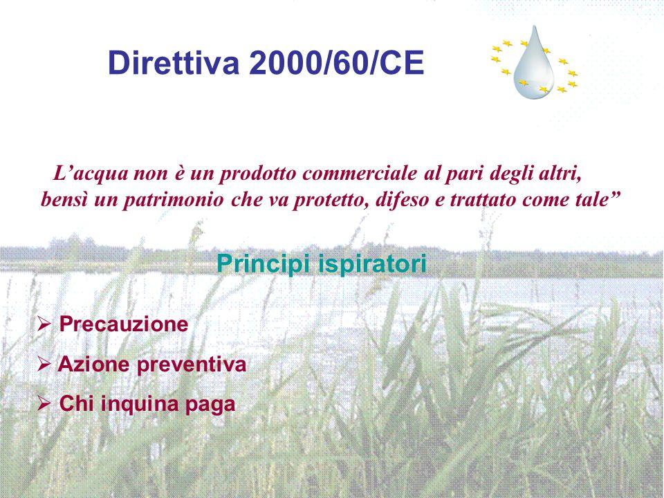 Direttiva 2000/60/CE L'acqua non è un prodotto commerciale al pari degli altri, bensì un patrimonio che va protetto, difeso e trattato come tale Principi ispiratori  Precauzione  Azione preventiva  Chi inquina paga