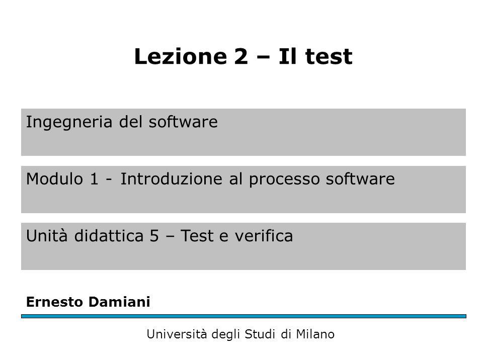 Il software testing (1) Test = processo di verifica delle funzionalità e della correttezza del software attraverso esecuzioni di prova – Un test ha successo quando trova un errore non ancora individuato – Non è possibile dimostrare l'assenza di errori