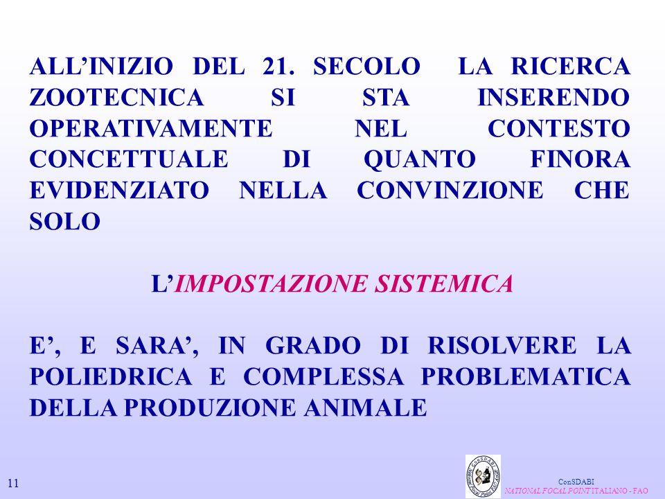 ALL'INIZIO DEL 21. SECOLO LA RICERCA ZOOTECNICA SI STA INSERENDO OPERATIVAMENTE NEL CONTESTO CONCETTUALE DI QUANTO FINORA EVIDENZIATO NELLA CONVINZION