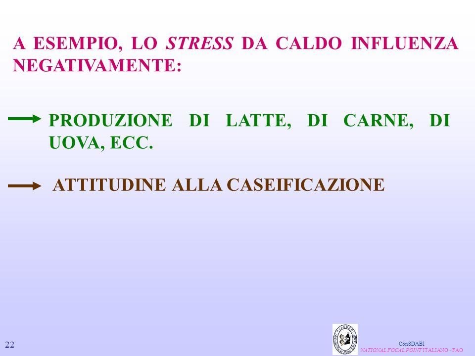 A ESEMPIO, LO STRESS DA CALDO INFLUENZA NEGATIVAMENTE: PRODUZIONE DI LATTE, DI CARNE, DI UOVA, ECC. ATTITUDINE ALLA CASEIFICAZIONE ConSDABI NATIONAL F
