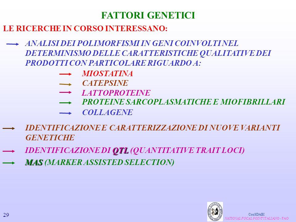 FATTORI GENETICI ANALISI DEI POLIMORFISMI IN GENI COINVOLTI NEL DETERMINISMO DELLE CARATTERISTICHE QUALITATIVE DEI PRODOTTI CON PARTICOLARE RIGUARDO A
