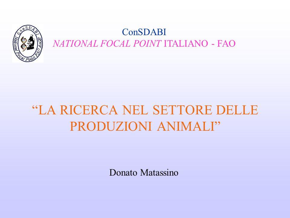 """""""LA RICERCA NEL SETTORE DELLE PRODUZIONI ANIMALI"""" ConSDABI NATIONAL FOCAL POINT ITALIANO - FAO Donato Matassino"""