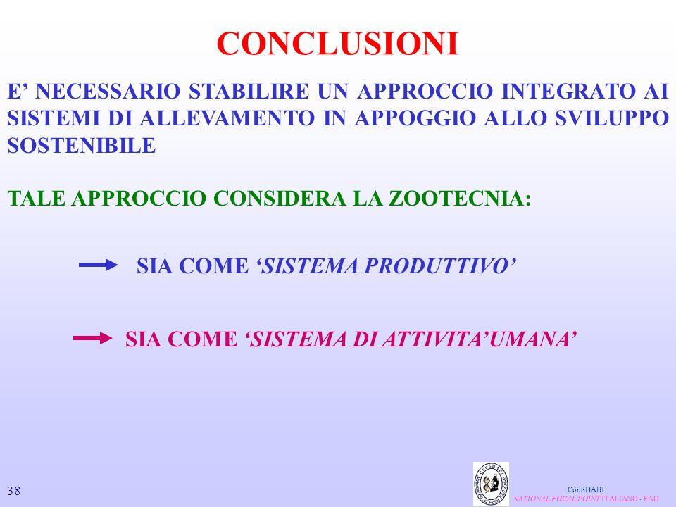 TALE APPROCCIO CONSIDERA LA ZOOTECNIA: CONCLUSIONI ConSDABI NATIONAL FOCAL POINT ITALIANO - FAO E' NECESSARIO STABILIRE UN APPROCCIO INTEGRATO AI SIST