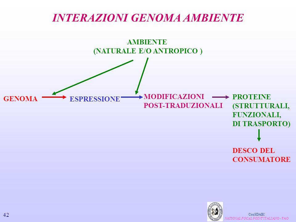 GENOMA AMBIENTE (NATURALE E/O ANTROPICO ) ESPRESSIONE MODIFICAZIONI POST-TRADUZIONALI PROTEINE (STRUTTURALI, FUNZIONALI, DI TRASPORTO) DESCO DEL CONSU