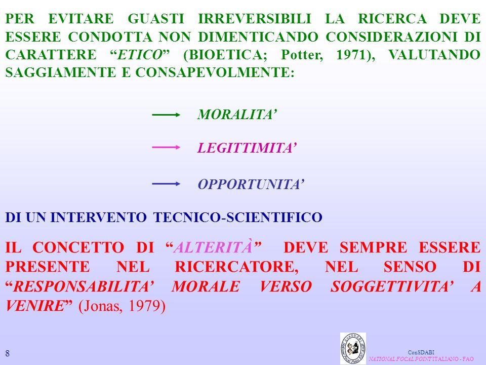 FATTORI GENETICI ANALISI DEI POLIMORFISMI IN GENI COINVOLTI NEL DETERMINISMO DELLE CARATTERISTICHE QUALITATIVE DEI PRODOTTI CON PARTICOLARE RIGUARDO A: IDENTIFICAZIONE E CARATTERIZZAZIONE DI NUOVE VARIANTI GENETICHE QTL IDENTIFICAZIONE DI QTL (QUANTITATIVE TRAIT LOCI) LE RICERCHE IN CORSO INTERESSANO: MIOSTATINA CATEPSINE LATTOPROTEINE PROTEINE SARCOPLASMATICHE E MIOFIBRILLARI COLLAGENE ConSDABI NATIONAL FOCAL POINT ITALIANO - FAO 29 MAS MAS (MARKER ASSISTED SELECTION)