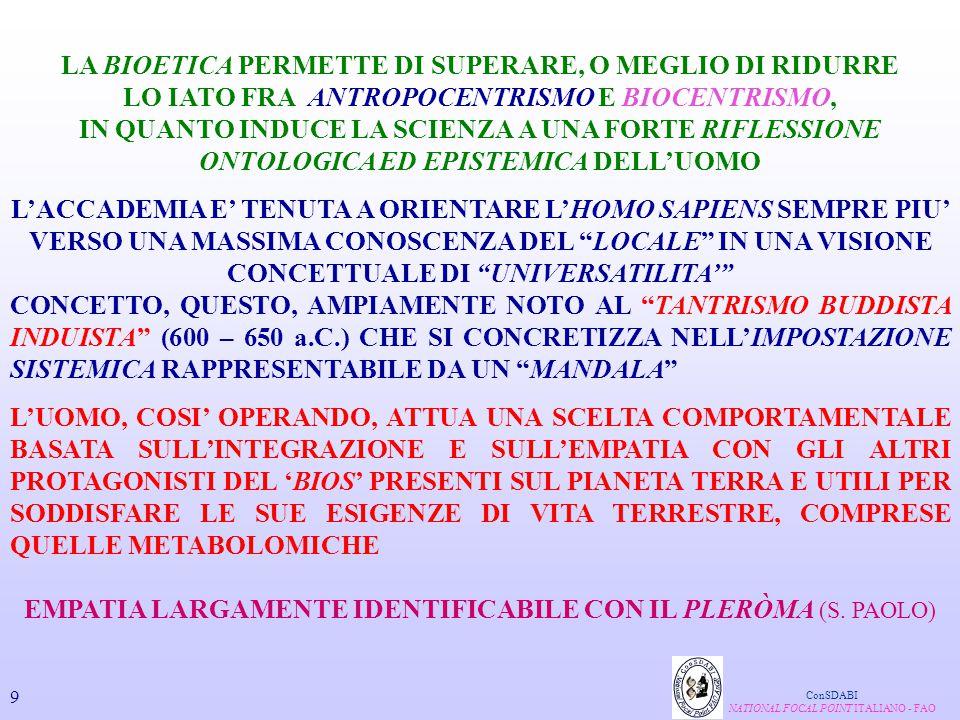 L'INTEGRAZIONE FRA GENOMICA FUNZIONALE ( TECNICA DEL DNA-MICROARRAY) PERMETTERA' DI INDIVIDUARE LE BASI MOLECOLARI DELLA DIFFERENTE RISPOSTA INDIVIDUALE AI REGIMI ALIMENTARI SINGOLI NUTRIENTI ConSDABI NATIONAL FOCAL POINT ITALIANO - FAO PROTEOMICA E 40