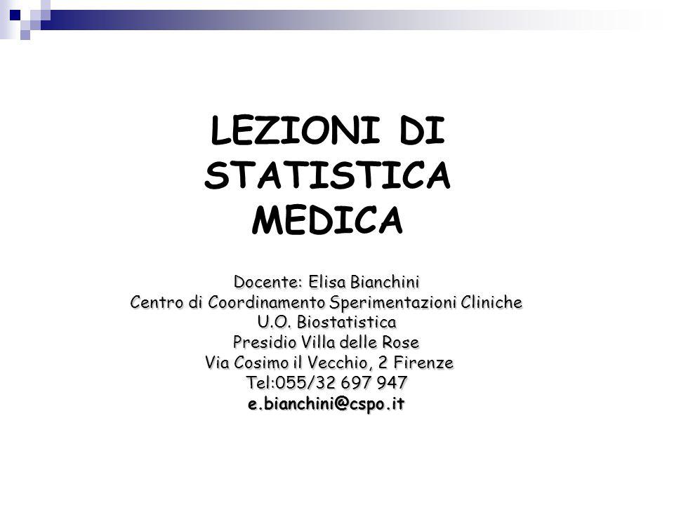 LEZIONI DI STATISTICA MEDICA Docente: Elisa Bianchini Centro di Coordinamento Sperimentazioni Cliniche U.O. Biostatistica Presidio Villa delle Rose Vi