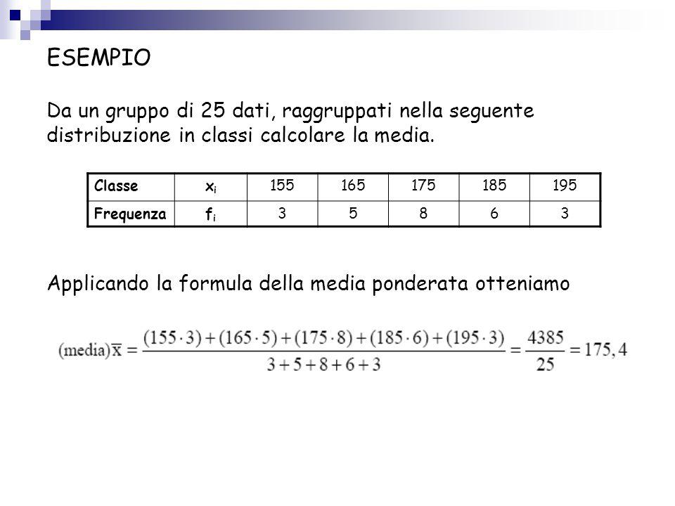 ESEMPIO Da un gruppo di 25 dati, raggruppati nella seguente distribuzione in classi calcolare la media. Applicando la formula della media ponderata ot