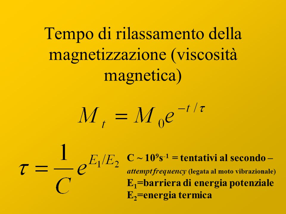 Tempo di rilassamento della magnetizzazione (viscosità magnetica) C ~ 10 9 s -1 = tentativi al secondo – attempt frequency (legata al moto vibrazionale) E 1 =barriera di energia potenziale E 2 =energia termica