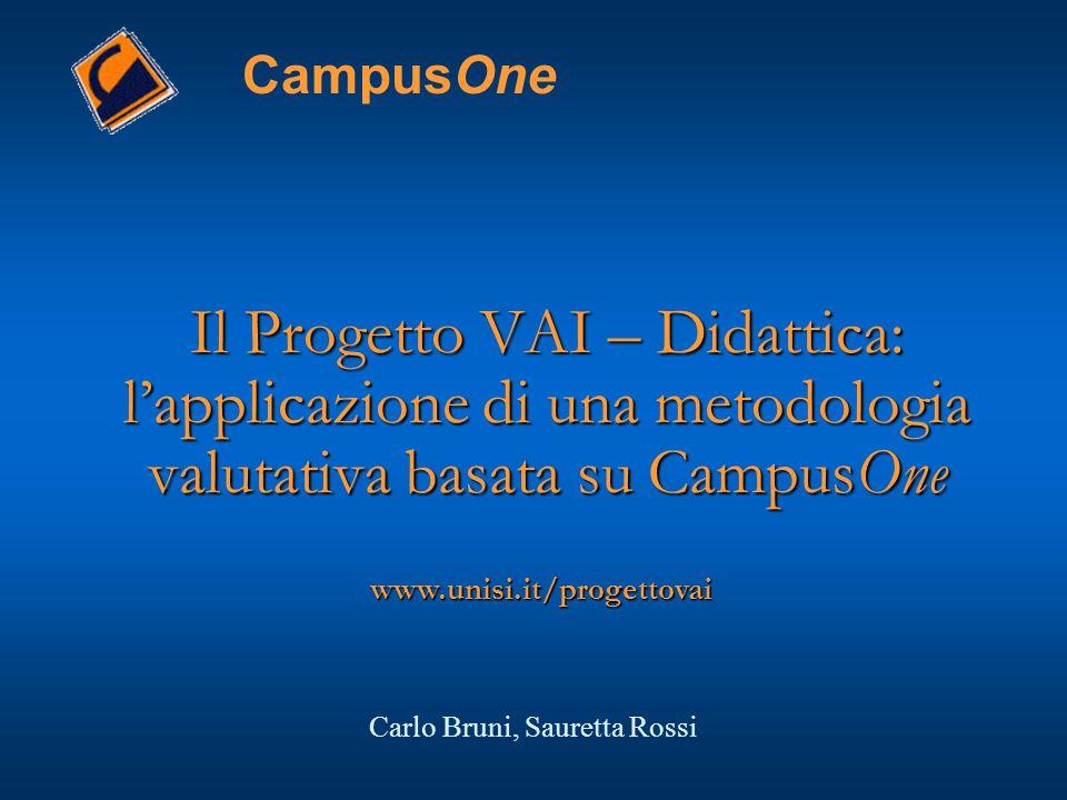 Il Progetto VAI – Didattica: l'applicazione di una metodologia valutativa basata su CampusOne CampusOne www.unisi.it/progettovai Carlo Bruni, Sauretta Rossi