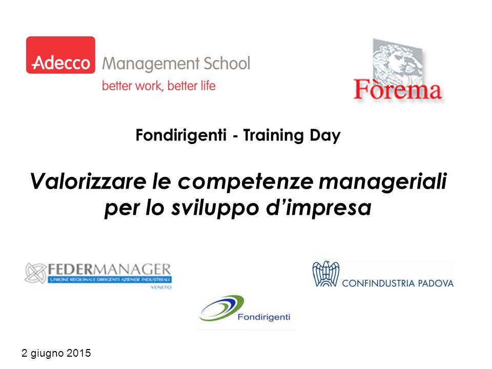 2 giugno 2015 Fondirigenti - Training Day Valorizzare le competenze manageriali per lo sviluppo d'impresa