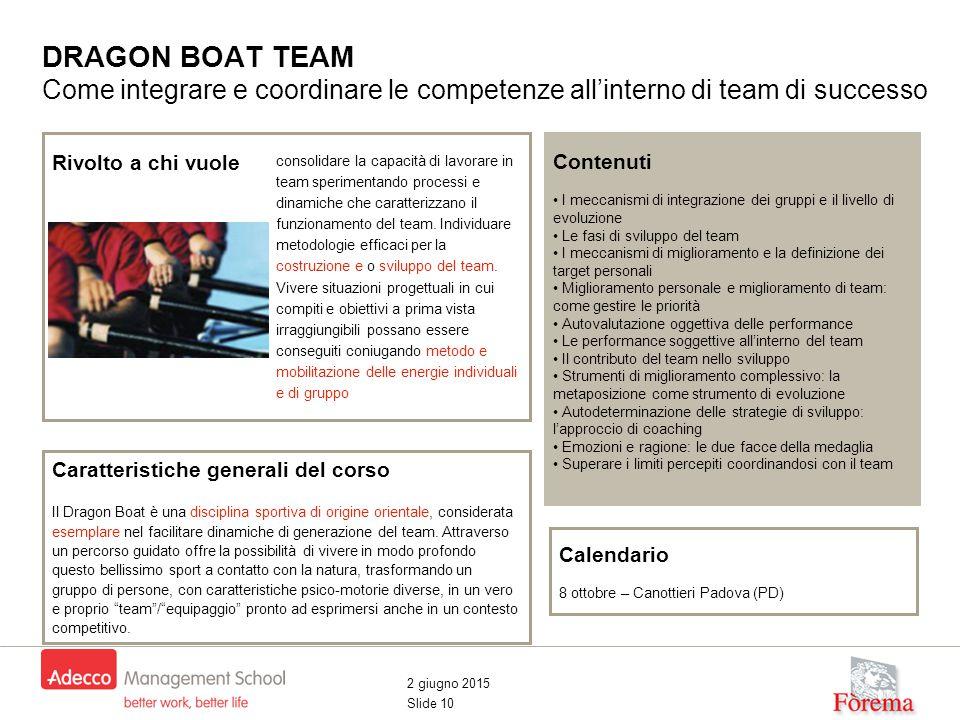 2 giugno 2015 Slide 10 DRAGON BOAT TEAM Come integrare e coordinare le competenze all'interno di team di successo Contenuti I meccanismi di integrazione dei gruppi e il livello di evoluzione Le fasi di sviluppo del team I meccanismi di miglioramento e la definizione dei target personali Miglioramento personale e miglioramento di team: come gestire le priorità Autovalutazione oggettiva delle performance Le performance soggettive all'interno del team Il contributo del team nello sviluppo Strumenti di miglioramento complessivo: la metaposizione come strumento di evoluzione Autodeterminazione delle strategie di sviluppo: l'approccio di coaching Emozioni e ragione: le due facce della medaglia Superare i limiti percepiti coordinandosi con il team Caratteristiche generali del corso Il Dragon Boat è una disciplina sportiva di origine orientale, considerata esemplare nel facilitare dinamiche di generazione del team.