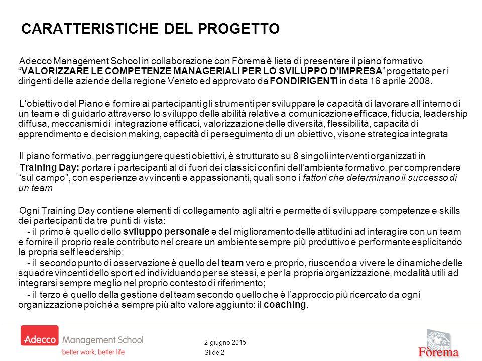 2 giugno 2015 Slide 2 CARATTERISTICHE DEL PROGETTO Adecco Management School in collaborazione con Fòrema è lieta di presentare il piano formativo VALORIZZARE LE COMPETENZE MANAGERIALI PER LO SVILUPPO D IMPRESA progettato per i dirigenti delle aziende della regione Veneto ed approvato da FONDIRIGENTI in data 16 aprile 2008.