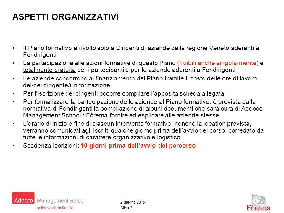2 giugno 2015 Slide 3 Il Piano formativo è rivolto solo a Dirigenti di aziende della regione Veneto aderenti a Fondirigenti La partecipazione alle azi