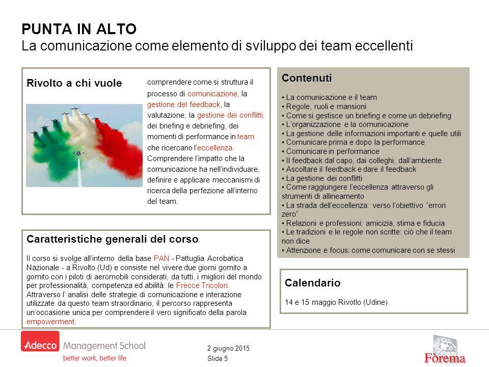 2 giugno 2015 Slide 5 PUNTA IN ALTO La comunicazione come elemento di sviluppo dei team eccellenti Contenuti La comunicazione e il team Regole, ruoli