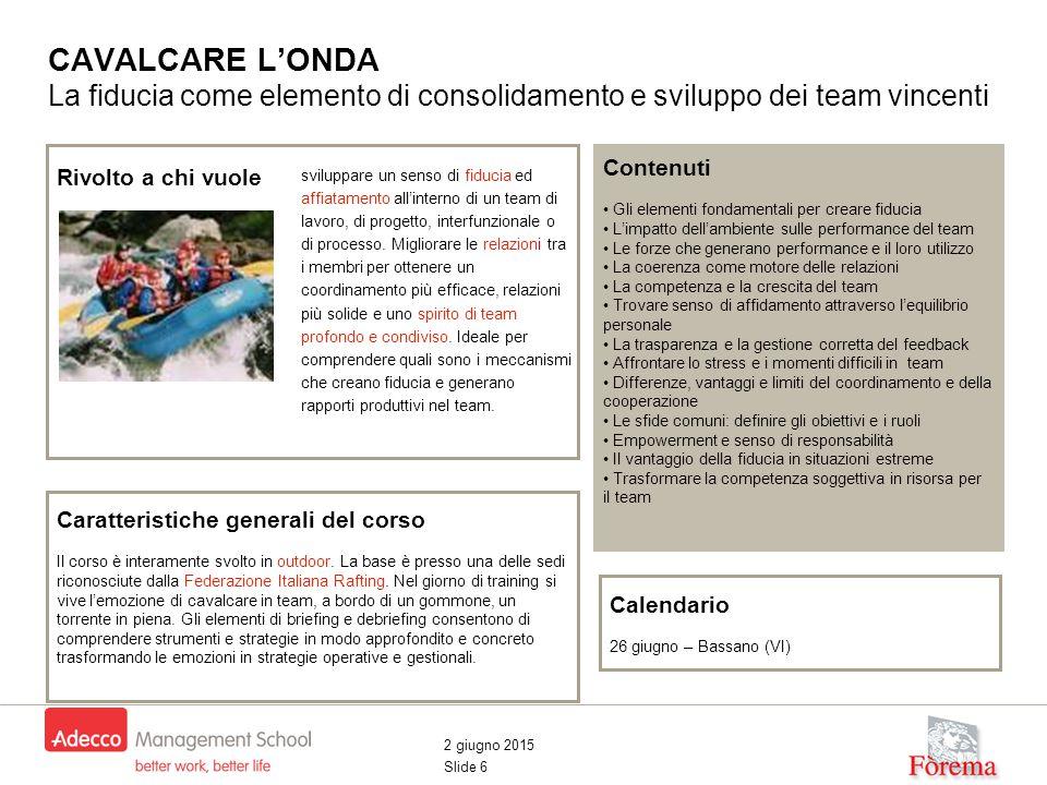 2 giugno 2015 Slide 6 CAVALCARE L'ONDA La fiducia come elemento di consolidamento e sviluppo dei team vincenti Contenuti Gli elementi fondamentali per