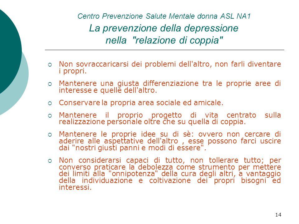 14 Centro Prevenzione Salute Mentale donna ASL NA1 La prevenzione della depressione nella relazione di coppia  Non sovraccaricarsi dei problemi dell altro, non farli diventare i propri.