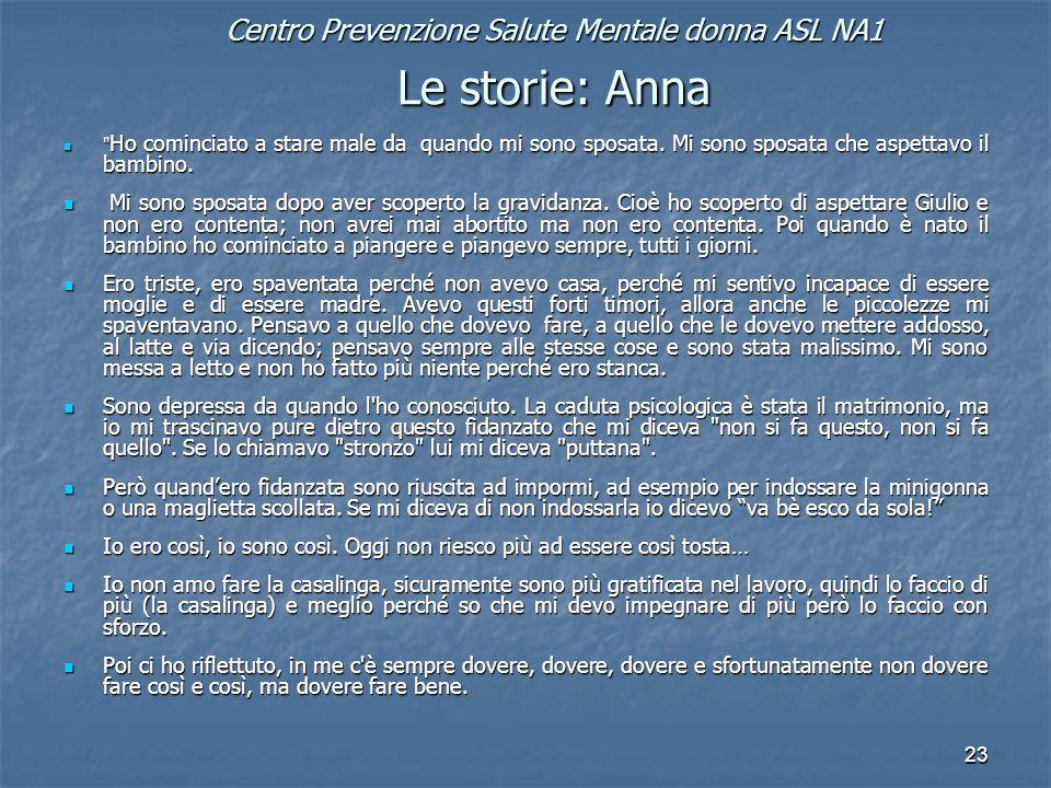 23 Centro Prevenzione Salute Mentale donna ASL NA1 Le storie: Anna Ho cominciato a stare male da quando mi sono sposata.