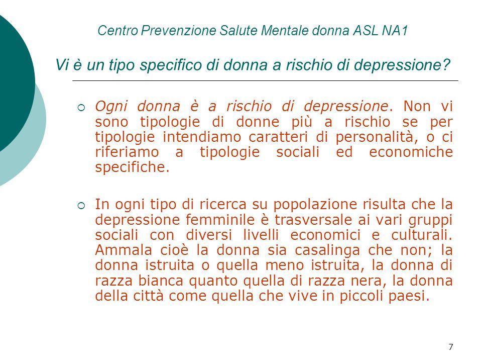 8 Centro Prevenzione Salute Mentale donna ASL NA1 i fattori di rischio che accomunano le donne  Lo stress ed il sovraccarico; che le ricerche sulla depressione generalmente hanno individuato nella condizione di donna coniugata con figli piccoli al di sotto dei 14 anni.