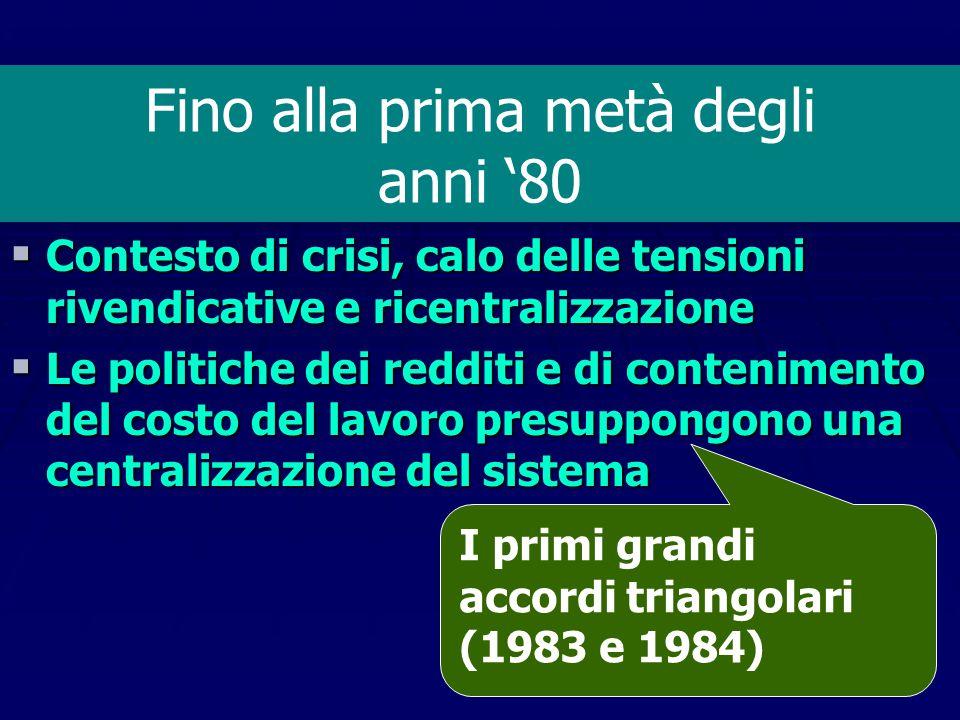 IL CICLO 1968-1973 Forte decentramento e fine dell'ordine gerarchico fondato sulle clausole di rinvio e di tregua La contrattazione di categoria come