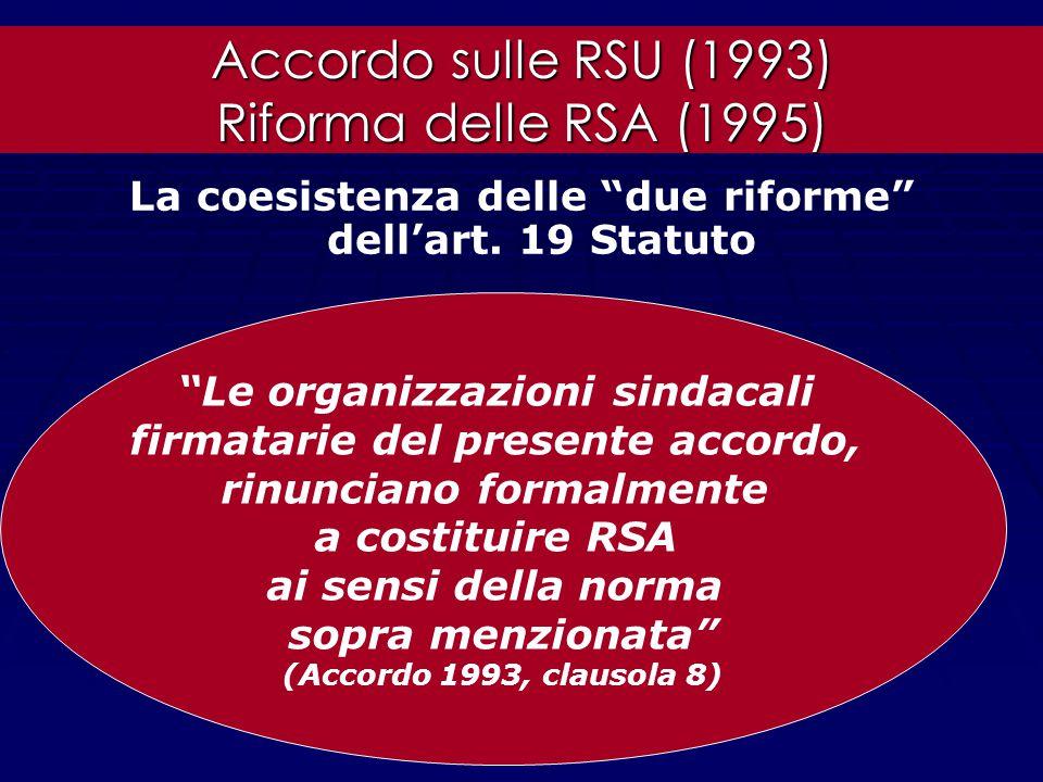 L'accordo interconfederale sulle RSU (1993) come risposta a due esigenze 1) 1)Verificare la rappresentatività dei rappresentanti aziendali 2) 2)Garant