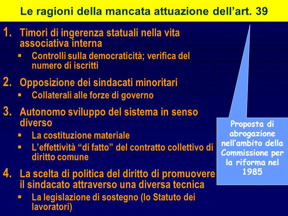 Le ragioni della scelta costituzionale   Consapevolezza della frammentazione ideologica del sindacalismo italiano   Necessità di trovare un criter