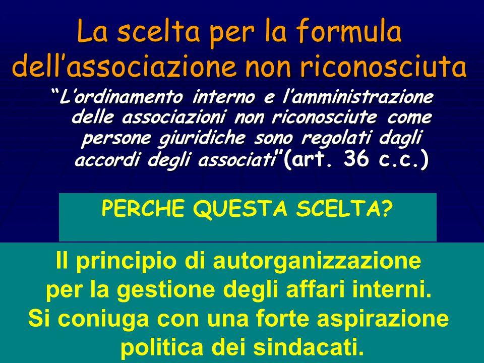 La scelta per la formula dell'associazione non riconosciuta L'ordinamento interno e l'amministrazione delle associazioni non riconosciute come persone giuridiche sono regolati dagli accordi degli associati (art.