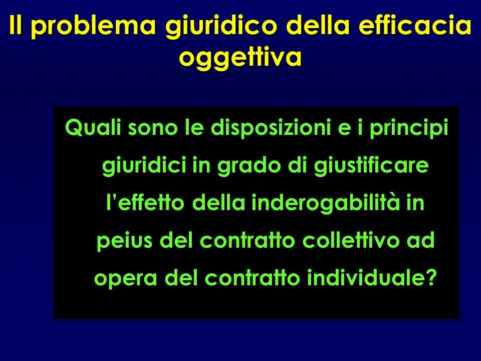 L'efficacia oggettiva: le ragioni sostanziali del problema Evitare di vanificare la funzione della contrattazione collettiva, consentendo che i lavora