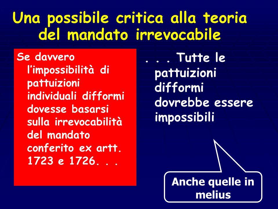 La spiegazione di F. Santoro Passarelli Art. 1723 c.c Il mandato conferito anche nell'interesse del mandatario non si estingue per revoca da parte del