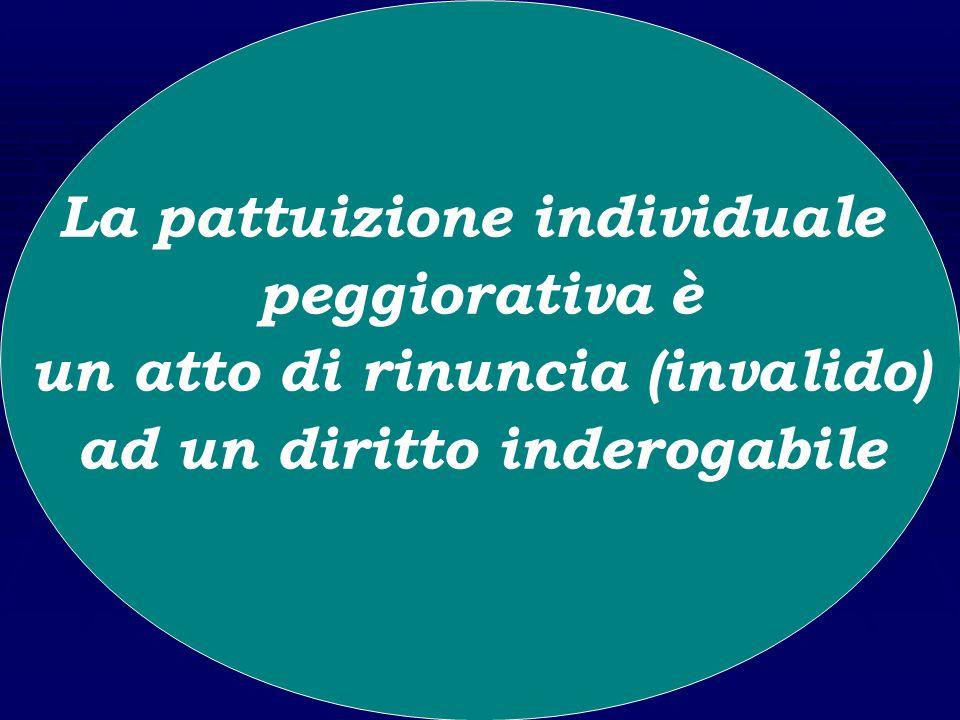 Le pattuizioni individuali peggiorative: qual è la loro qualificazione giuridica? La pattuizione individuale peggiorativa non è più considerata una re