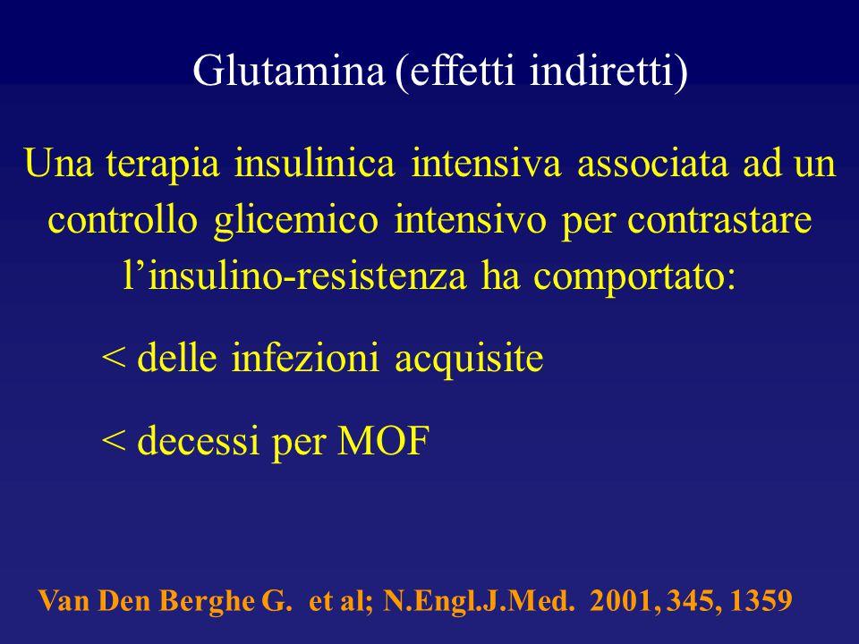 Glutamina (effetti indiretti) Una terapia insulinica intensiva associata ad un controllo glicemico intensivo per contrastare l'insulino-resistenza ha