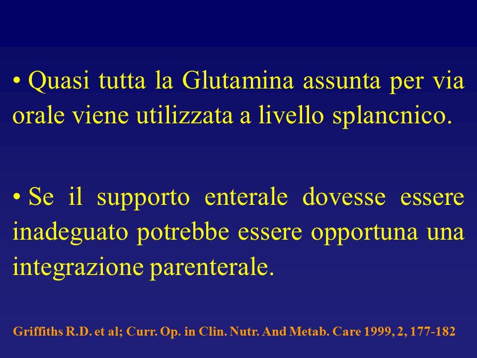 Quasi tutta la Glutamina assunta per via orale viene utilizzata a livello splancnico. Se il supporto enterale dovesse essere inadeguato potrebbe esser