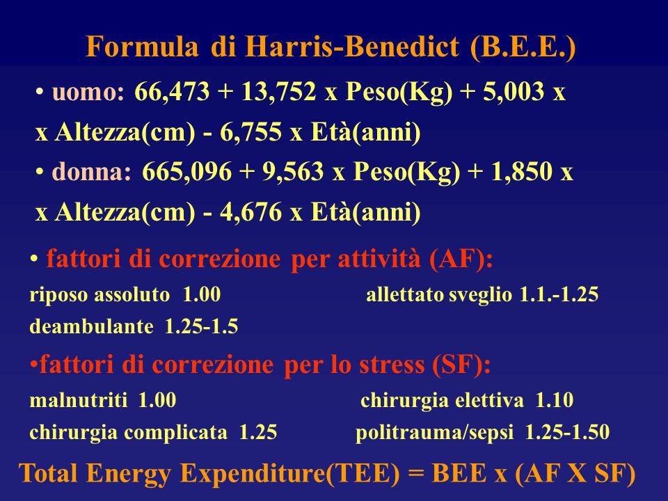 Formula di Harris-Benedict (B.E.E.) uomo: 66,473 + 13,752 x Peso(Kg) + 5,003 x x Altezza(cm) - 6,755 x Età(anni) donna: 665,096 + 9,563 x Peso(Kg) + 1