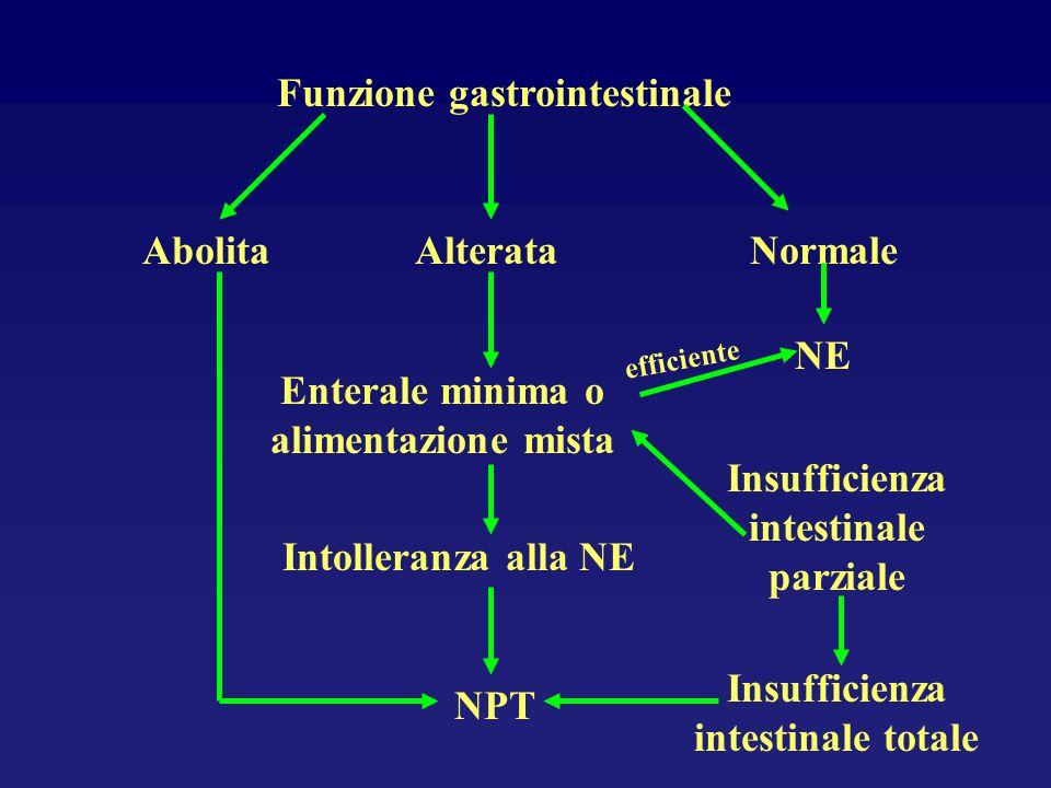Funzione gastrointestinale AlterataAbolitaNormale Enterale minima o alimentazione mista NE Intolleranza alla NE NPT Insufficienza intestinale totale I