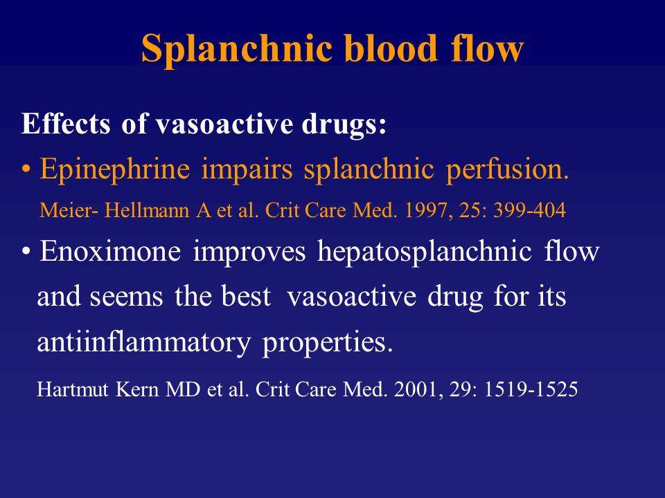 Effects of vasoactive drugs: Epinephrine impairs splanchnic perfusion. Meier- Hellmann A et al. Crit Care Med. 1997, 25: 399-404 Enoximone improves he
