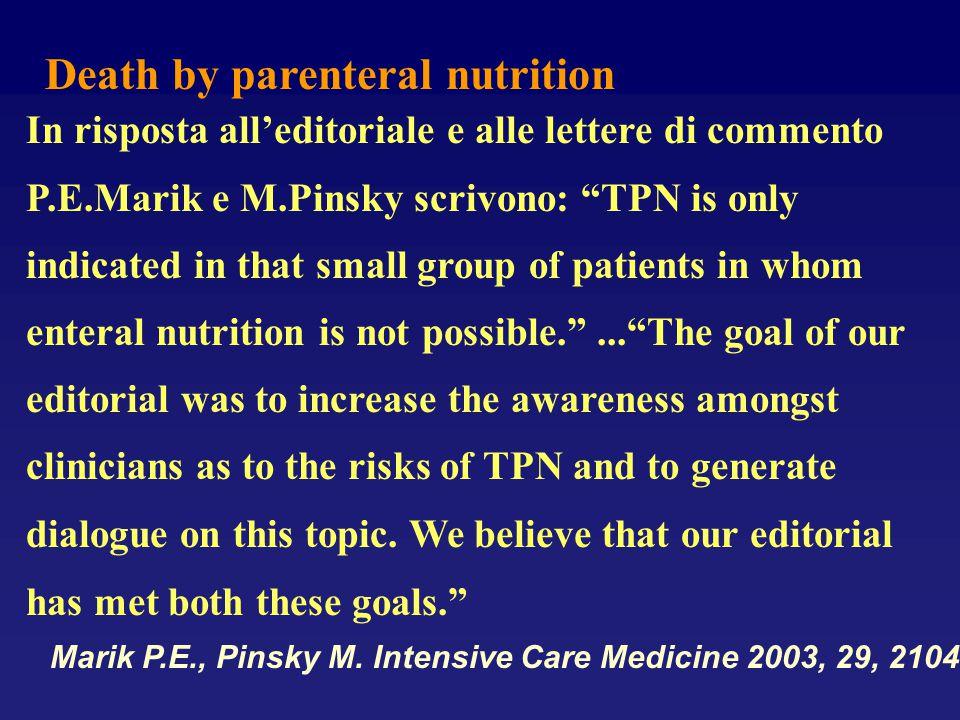 "Death by parenteral nutrition In risposta all'editoriale e alle lettere di commento P.E.Marik e M.Pinsky scrivono: ""TPN is only indicated in that smal"