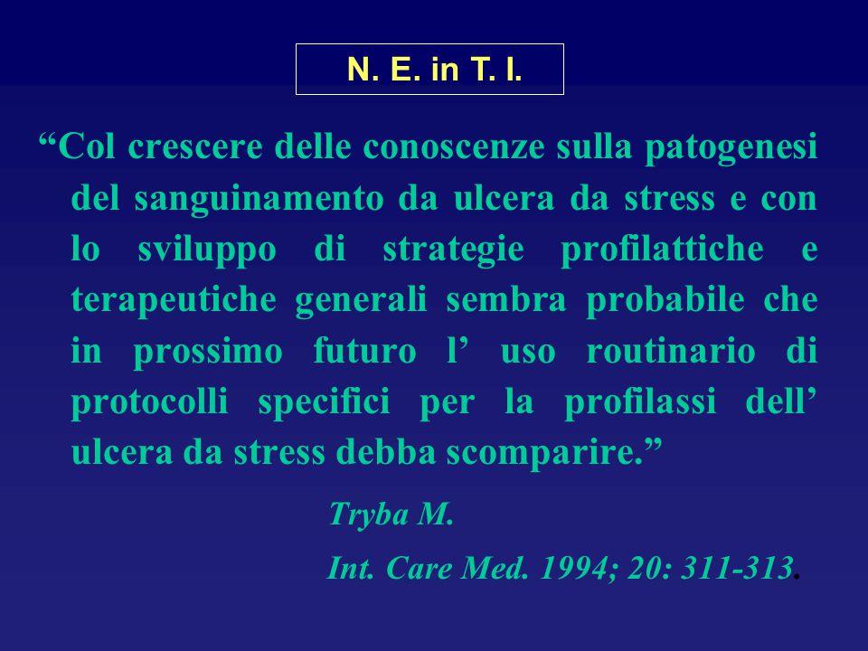 """""""Col crescere delle conoscenze sulla patogenesi del sanguinamento da ulcera da stress e con lo sviluppo di strategie profilattiche e terapeutiche gene"""