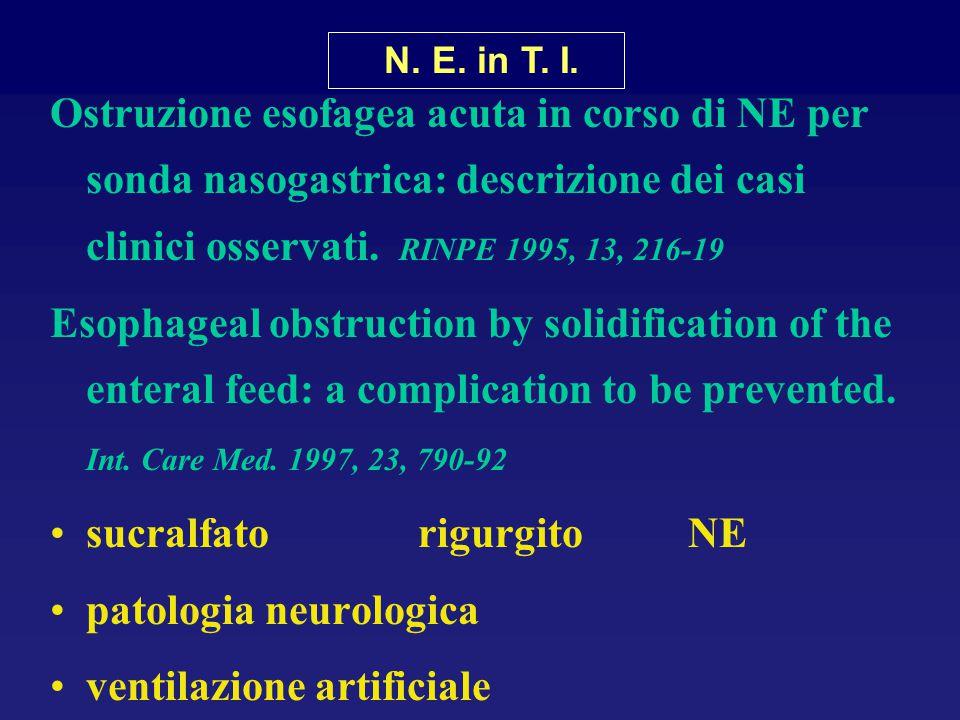 Ostruzione esofagea acuta in corso di NE per sonda nasogastrica: descrizione dei casi clinici osservati. RINPE 1995, 13, 216-19 Esophageal obstruction