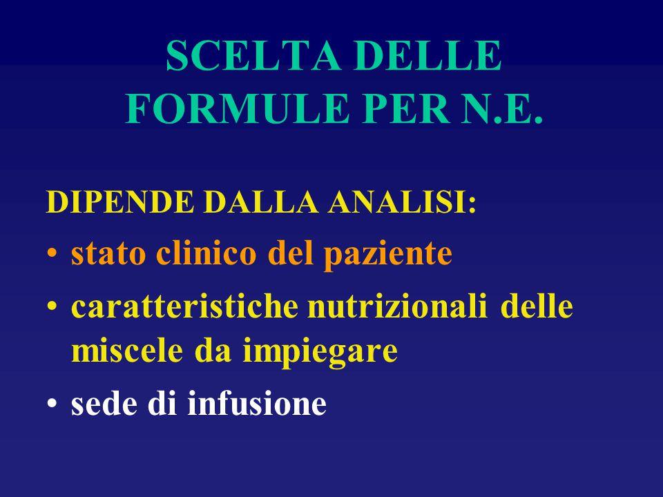 SCELTA DELLE FORMULE PER N.E. DIPENDE DALLA ANALISI: stato clinico del paziente caratteristiche nutrizionali delle miscele da impiegare sede di infusi