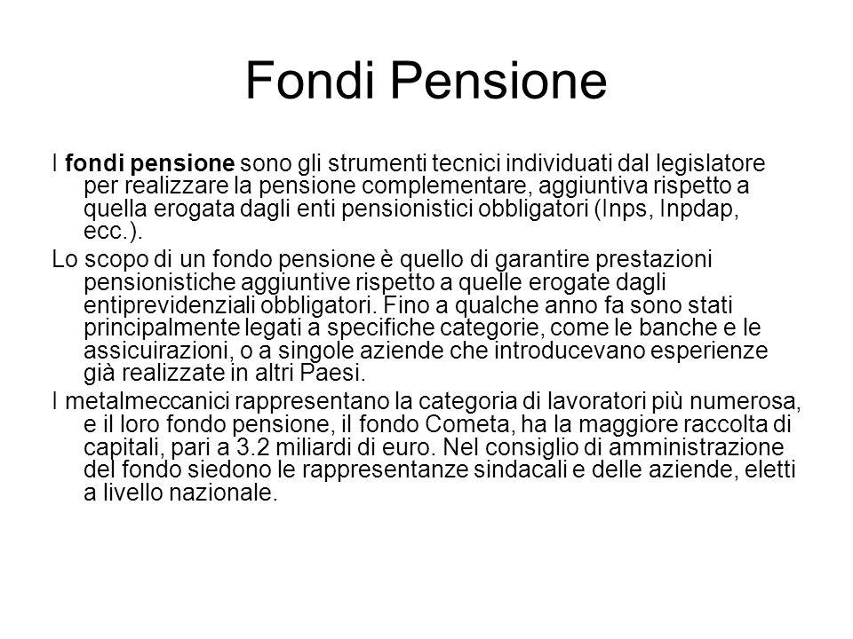 Fondi Pensione I fondi pensione sono gli strumenti tecnici individuati dal legislatore per realizzare la pensione complementare, aggiuntiva rispetto a