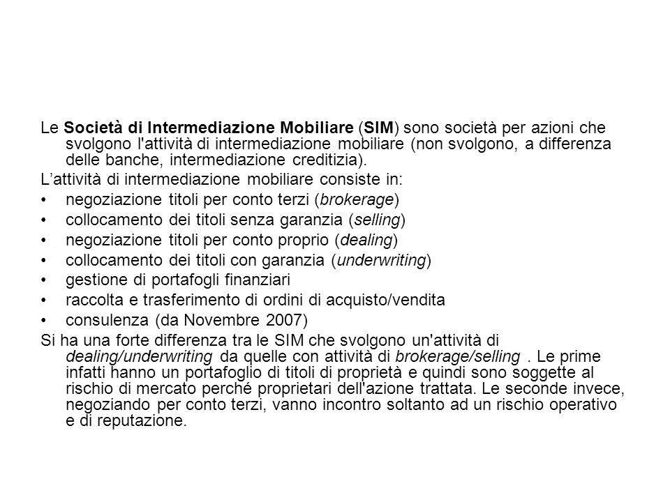 Le Società di Intermediazione Mobiliare (SIM) sono società per azioni che svolgono l'attività di intermediazione mobiliare (non svolgono, a differenza