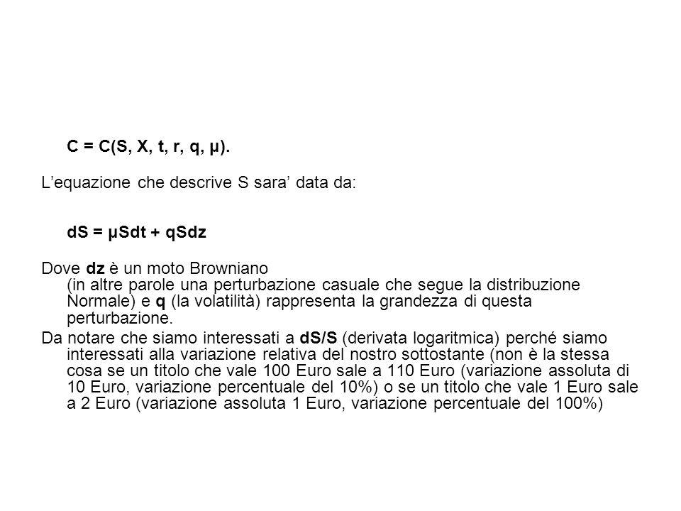 C = C(S, X, t, r, q, μ). L'equazione che descrive S sara' data da: dS = μSdt + qSdz Dove dz è un moto Browniano (in altre parole una perturbazione cas
