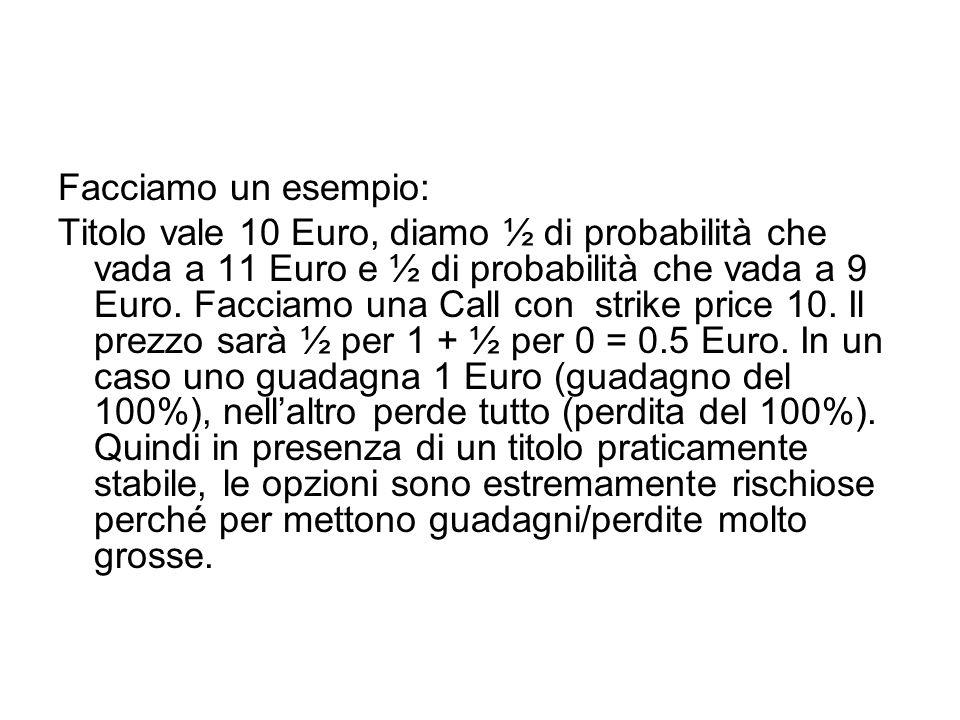 Facciamo un esempio: Titolo vale 10 Euro, diamo ½ di probabilità che vada a 11 Euro e ½ di probabilità che vada a 9 Euro. Facciamo una Call con strike