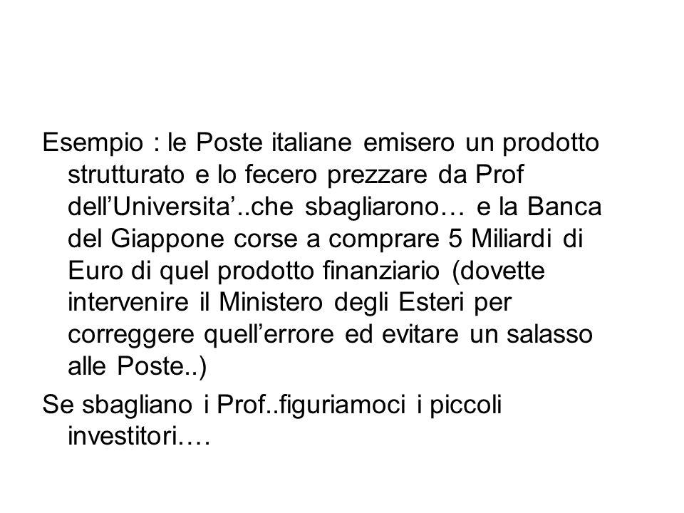 Esempio : le Poste italiane emisero un prodotto strutturato e lo fecero prezzare da Prof dell'Universita'..che sbagliarono… e la Banca del Giappone co