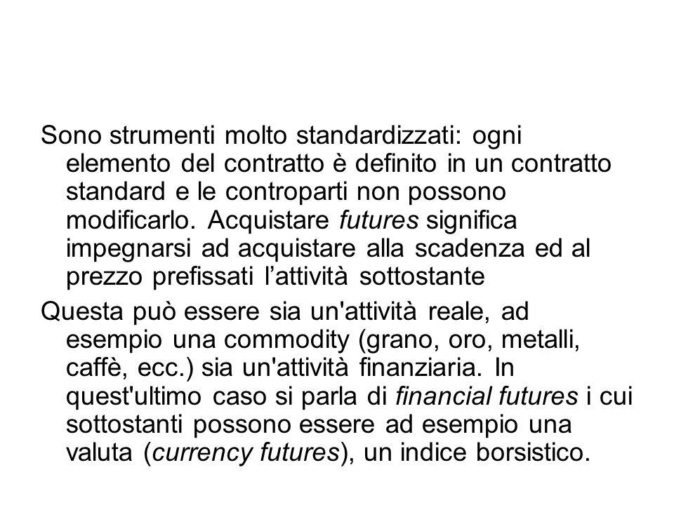 Sono strumenti molto standardizzati: ogni elemento del contratto è definito in un contratto standard e le controparti non possono modificarlo. Acquist